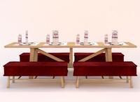 3d set table restaurante model