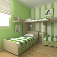 childrens bedroom 3d obj
