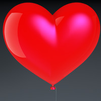 realistic heart shaped balloon 3d model