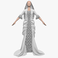 wedding dress 011 female 3d fbx
