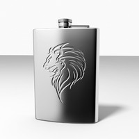 embossed lion hip flask 3d 3ds
