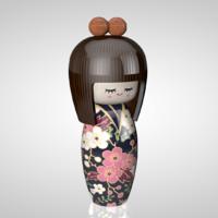 3d kokeshi doll model