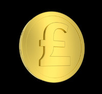 metallic coin pound 3d obj