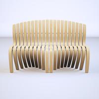 wood bench 3d c4d
