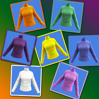 free female woolen shirt - 3d model