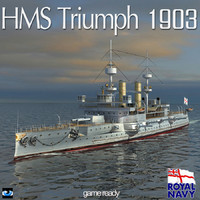 hms triumph 1903 world war 3d x