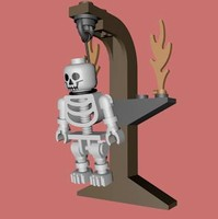 3d lego gallows skeleton model