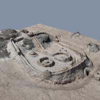 3d model beach sand castle