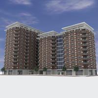 3d - modern brick building