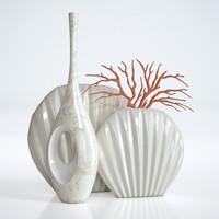 3d model 3 vases coral