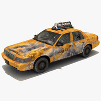 3d wrecked car ny taxi model