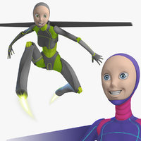 3d rigged female robot android
