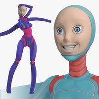 rigged female robot android 3d model