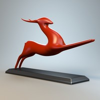 3d model running antelope sculpture