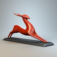 resting antelope sculpture 3d model