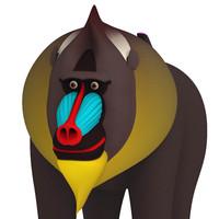 mandrill monkey 3d obj