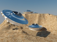 UFO scene in the desert
