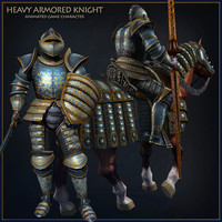 knight horse characters animations 3d max