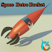3d model retro rocket space