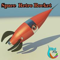 3d model retro rocket space