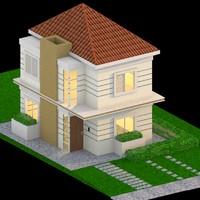 3d model suburban house