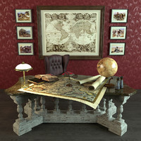 3d model antique desk library