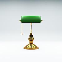 banker desk lamp c4d
