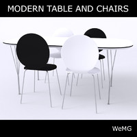 c4d modern table chairs