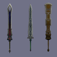 staff sword cartoon 3d model