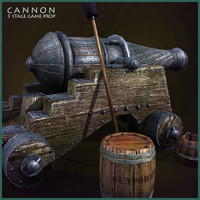 3d medieval cannon model