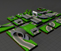 3d set streets race tracks model