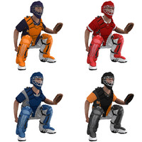 rigged baseball catcher 3d model
