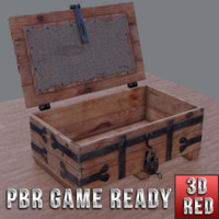 3d model of ready medieval chest