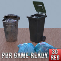 Refuse bins & bags of rubbish game ready