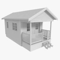 scandinavian cabin interior exterior obj