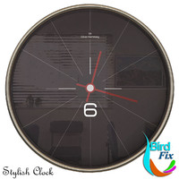 3d black wall clock