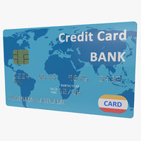 3d model credit card blue
