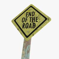 sign road end model