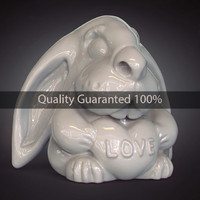 rabbit love heart 3d model