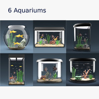 6 aquariums equipped 3d model