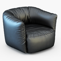 Poliform Armachair Santa Monica Leather Swivel