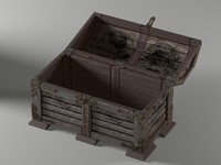3d wood pirate chest