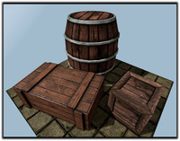 obj wooden barrel box big