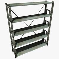 metal shelving unit 3d obj