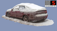 3d old car snow