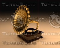 3d model gramophone golden