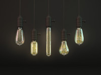3d retro light bulb model