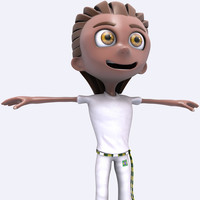 3d capoeira big head boy cartoon model