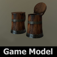 3d old wooden tankard model