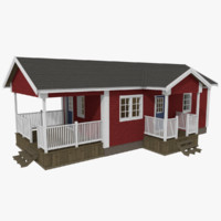 Scandinavian cabin six with interior textured